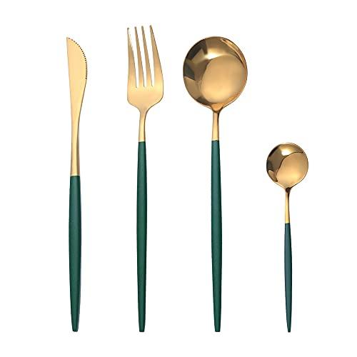 OUQIWEN Juego de cubiertos, 8 piezas juego de cubiertos de acero inoxidable verde y dorado de , Juego de cubiertos de oro verde,Incluyendo cuchillo / tenedor / cuchara / cucharadita,para 2 personas