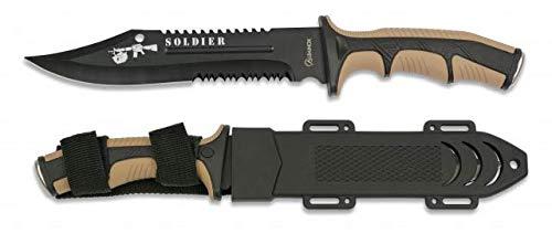 Cuchillo Soldier Coyote Hoja 19 cm para Caza, Pesca, Camping, Outdoor, Supervivencia y Bushcraft Albainox 32406 + Portabotellas de regalo