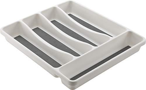 mondex PLS261-00 - Organizador de Cubiertos para cajón de Cocina, plástico Blanco, 31x 27x 4,5cm, 5Compartimentos