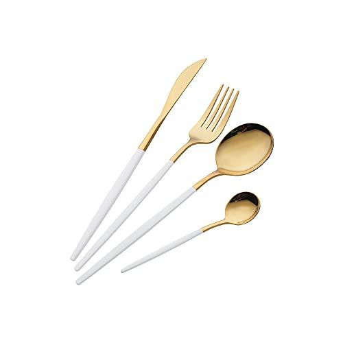 Juego de Cubiertos de 16 Piezas,Cubiertos dorados y blanco acero inoxidable,Utensilios de Acero Inoxidable Juego de Servicio para 4,Incluyendo cuchillo / tenedor / cuchara / cucharadita (Oro Blanco)