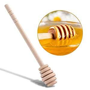 Cuchara de Miel de Madera, Haofy 50 Piezas de Cucharas para la Miel de 10cm, Varillas de Agitación para Tarros de Miel, Palos de Miel para Fiesta, Boda, Favores, Bautizo (10CM / 3.9')