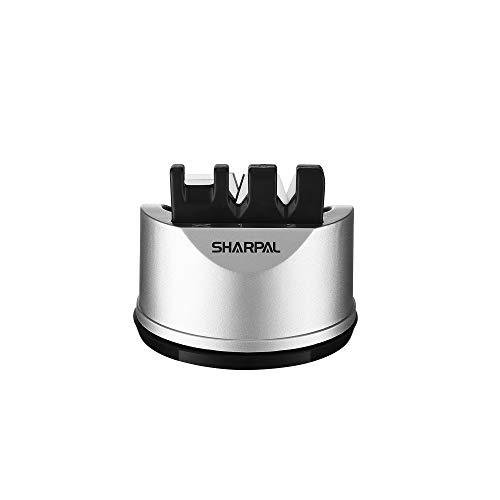 SHARPAL 191H 3 opciones Afilador pequeño de cuchillos de cocina y tijeras para cuchillos con filos rectos y dentados, herramienta de afilado de cuchillos