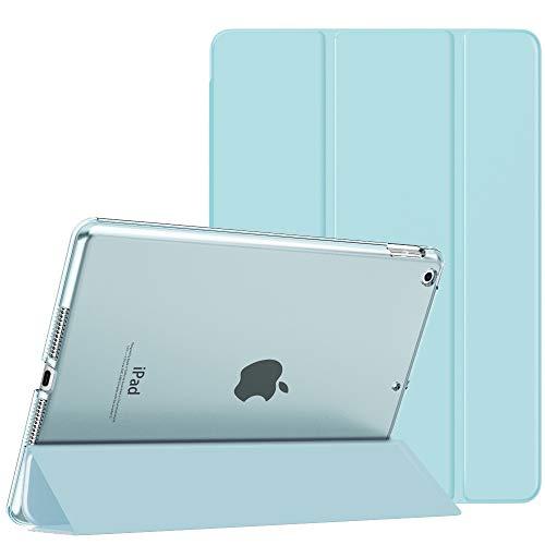 MoKo Funda para Nuevo iPad 8ª Gen 2020 / 7ª Generación 2019, iPad 10.2 Case, Ultra Delgado Función de Soporte Protectora Plegable Cubierta Inteligente Trasera Transparente, Azul Claro