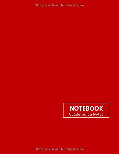 Papel de cuaderno sin pie de página y pies numerados. Frente / Cubierta Roja. Volumen y tamaño: 8.5 'X 11' (21.59 x 27.94 cm) .100 páginas