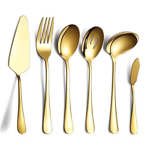 HOMQUEN 6 Piezas de Dorado Juego de Cubiertos,Incluye Servidor de Pastel, Cuchara Ranurada para Servir, Cuchara para Servir, Tenedor para Carne Fría, Cuchillo para Mantequilla, Cucharón para Sopa