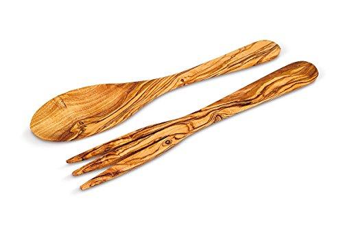 ARTE LEGNO SPELLO SRL Cubertería de cocina: juego clásico tenedor y cuchara de madera de olivo, 30 x 5 cm.