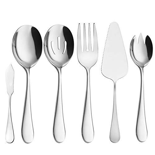 AOOSY Juego de cubiertos de 6 piezas, cubiertos de acero inoxidable, cucharas de servicio, utensilios de cocina de plata, utensilios para hornear, cuchillo para hornear, bufé casero