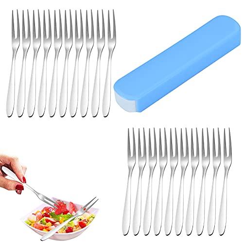 Tenedores de postre/Tenedores de mesa/Tenazas para marisco/Tenedores,acero inoxidable,con caja de almacenamiento,20 piezas