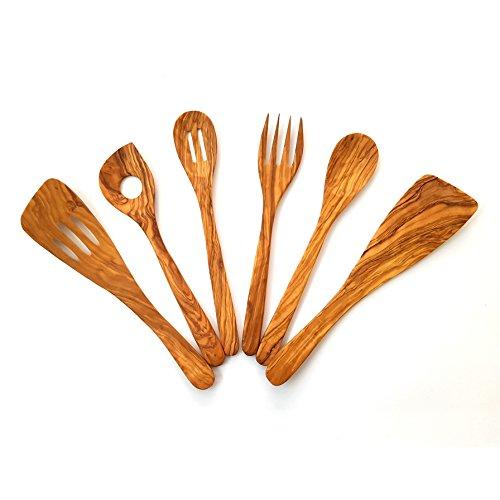 Conjunto de Utensilios de Cocina Fabricados artesanalmente con Madera de Olivo, 6 artículos. Formado por 2 Palas, 3 cucharas y 1 tenedore. Fabricación en España.