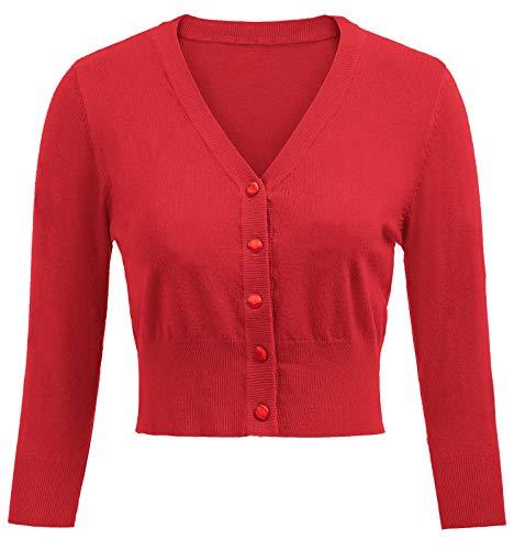 Belle Poque Vestido clásico de los años 50 para Mujer, cárdigan con Botones y Cubierta roja (928-5) XX-Large