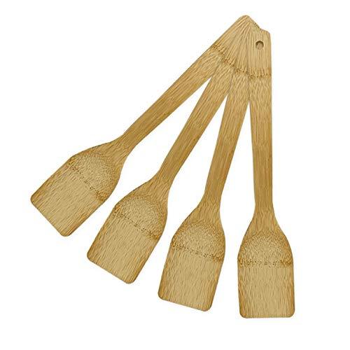 Juego de 4 espátulas de madera de bambú | Cuchara madera cocina premium para cocina casera | Utensilios cocina madera ecológicos para cocinar