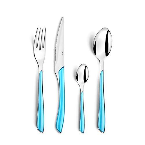Amefa Eclat - Cubertería (24 piezas, para 6 personas, 6 cucharas, 6 tenedores, 6 cuchillos, 6 cucharillas de café y té), Acero inoxidable y plástico, azul turquesa/plateado, 24-teilig