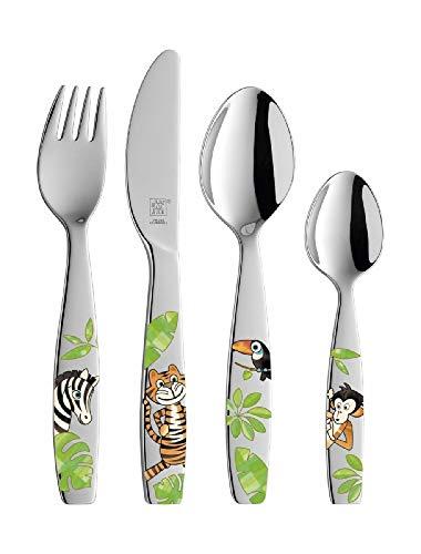 ZWILLING Set de cubiertos para niños, 4 piezas, Para niños a partir de 3 años, Acero inoxidable 18/10, Jungle