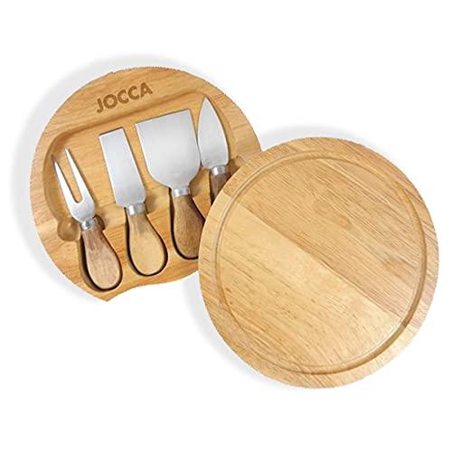 JOCCA - Set de tabla y cuchillos para cortar queso - 20 cm diámetro