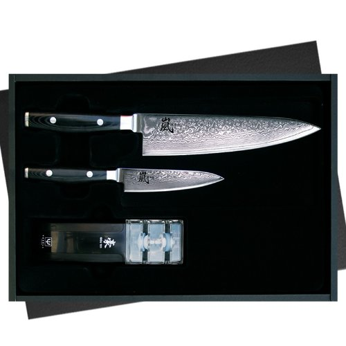 Yaxell Ran 69 Micarta 6060 - Juego de cuchillos (3 piezas, mango de micarta)