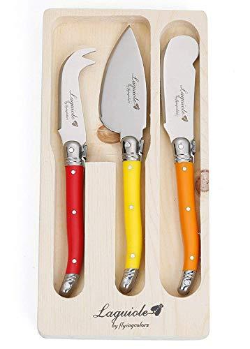 Flying Colors Laguiole Conjunto del Cuchillo del Queso. Mango Multicolor, 3 Piezas. LG06(TLTW-JTCS3-00)