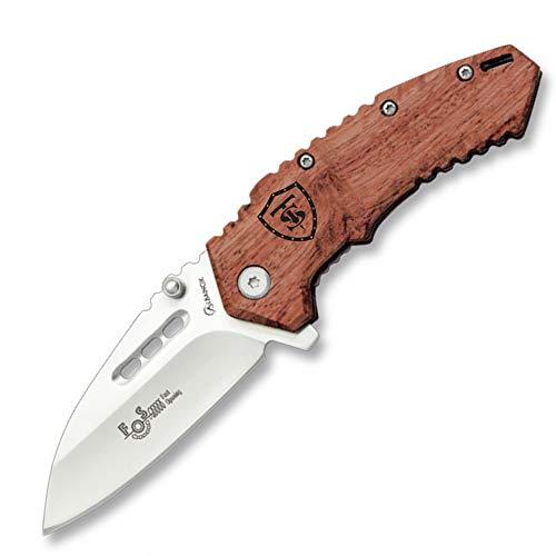 Navaja MINI FOS 70bw Empuñadura de madera   Longitud de hoja: 7 cm   Navaja asistida de bolsillo para exterior   Navaja plegable de bolsillo Senderismo, Camping