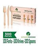 Juego de cubiertos de madera desechables, 300 piezas, madera biodegradable, respetuoso con el medio ambiente, 100 tenedores, 100 cuchillos, 100 cucharas