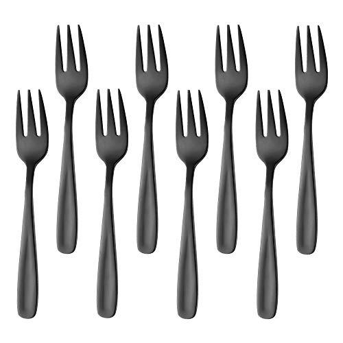Bisda Postre de tenedor de Negros tenedores de pastel 18/10 acero inoxidable tenedores pequeños para niños de colores 8 piezas Tenedores de frutas para repostería aperitivo 13,6 cm(5.4 inch) longitud