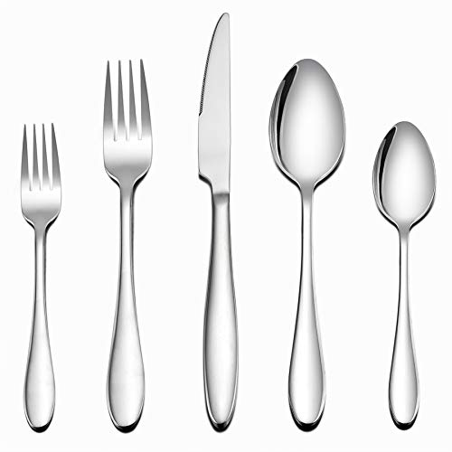 LIANYU Juego de cubertería de 40 piezas, de acero inoxidable, para el hogar, cocina, hotel, restaurante, vajilla de servicio para 8, acabado espejo, apto para lavavajillas