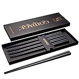 Goldage 5 pares de palillos de fibra de vidrio aptos para lavavajillas (Minimalismo Japonés - Hoja de hierba)