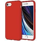 JETech Funda de Silicona Compatible iPhone SE 2020, iPhone 8 y iPhone 7, 4,7', Sedoso-Tacto Suave, Cubierta a Prueba de Golpes con Forro de Microfibra, Rojo