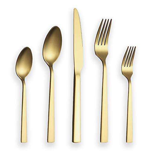 Berglander Juego de cubiertos 30 piezas con baño de titanio dorado, juego de cubiertos dorados de acero inoxidable, juego de cubiertos de oro, servicio para 6 (dorado mate)