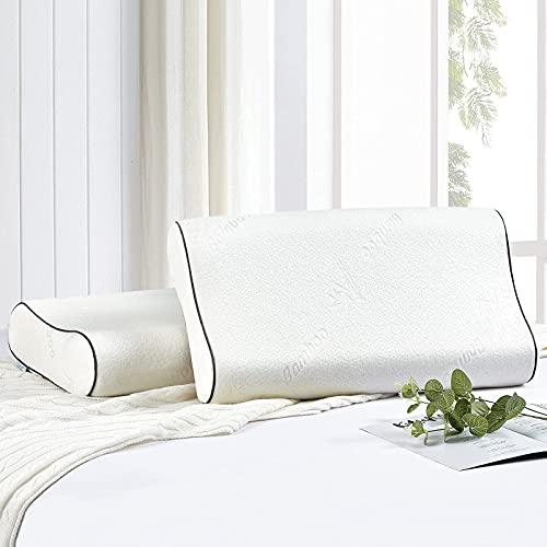 Wavve Almohada Viscoelástica 60x35 cm, Almohada Cervical Ergonómica de Memoria Forma con Cubierta de Fibra de Bambú para Reducir Dolores de Cuello (35x60 cm)