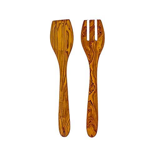 Benera Cubiertos para ensalada (madera de olivo, 2 piezas, 30 cm), color mediterráneo