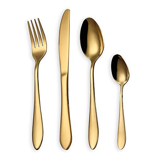 HOMQUEN Juego de Cubiertos, Juego de Cubiertos de Oro, Servicio de Juego de Acero Inoxidable para 6 Personas, 24 Piezas de Cubiertos de Comedor