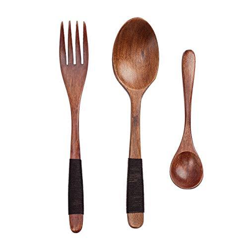 Cosyland Tenedor de cucharas de Madera, 3 Paquetes de cucharas, Cuchara de Sopa, Cuchara de café, vajilla ecológica con Funda