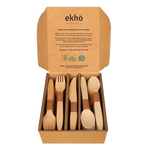 ekhõ The Wood Way! – 100 Cubiertos Desechables Biodegradables de Madera Sostenible – 40 tenedores + 40 cucharas + 20 cuchillos - Cubiertos para Llevar Ecológicos y Compostables