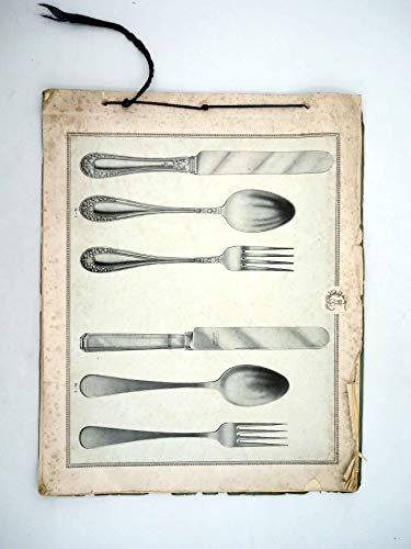 CATALOGO DE CUBIERTOS ANTIGUO. 19 Láminas. 39X31,5 Cm. Platería Cubertería.. No acreditada, Circa 1920