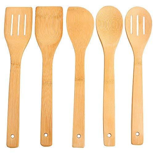 hollylife Utensilios de Cocina 5 Piezas Moderna, Sólidas Espátula Cuchara de Bambú Puro Madera Natural, sin Barnizada