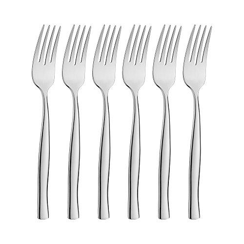 icxox Tenedores de Mesa Set de 6 Piezas, 20,7cm, Acero INOX 18/10 (Plateado)