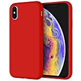 JETech Funda de Silicona Compatible iPhone X, iPhone XS, 5,8', Sedoso-Tacto Suave, Cubierta a Prueba de Golpes con Forro de Microfibra, Rojo
