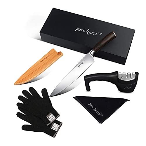 PURO KATTO TM - Cuchillo japonés de cocina premium 33 cm | Profesional | Acero inoxidable Carbono | Pro | Funda Madera | Eminador | Estuche | Sushi | Pescado | Afilador