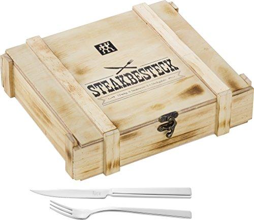 ZWILLING Juego de cubiertos para bistec para 6 personas, 12 piezas, 6 cuchillos para bistec y 6 tenedores para bistec, Incluye caja de almacenamiento de madera, acero inoxidable/madera