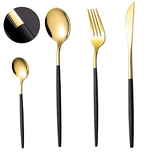 COPOTI Cubiertos negros y dorados, mango negro, 24 piezas, juego de cuchara con tenedor de cuchillo, elegante Life 6 personas, vajilla apta para lavavajillas, con caja de regalo.