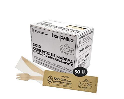 Don Palillo- 50 Sets de Cubiertos de Madera desechable enfundados en Papel Kraft. Cada Set Contiene 1 Tenedor + 1 Cuchillo + 1 servilleta de Papel