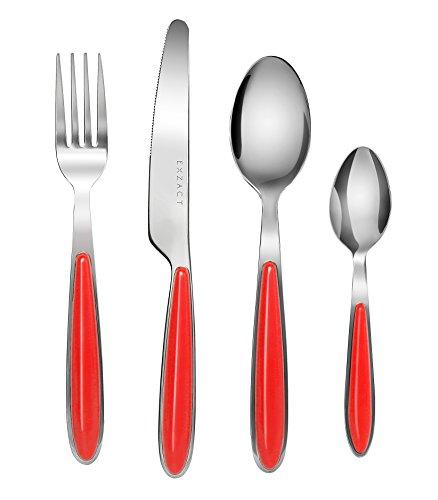 EXZACT Conjunto de cuberteria con 24 piezas - acero inoxidable con manecillas de color - 6 Tenedores, 6 Cuchillos, 6 Cucharas, 6 Cucharaditas (Rojo x 24) (EX07)