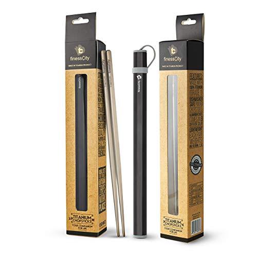 Palillos de titanio extra fuertes Ultra ligero profesional (Ti), palillos viene con caja de aluminio libre de calidad exclusiva (Negro)