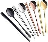 Buyer Star 8 piezas Dorado Acero inoxidable Cucharas Set de tenedores de postre Cuchara para postres Lujo Tenedores cucharas
