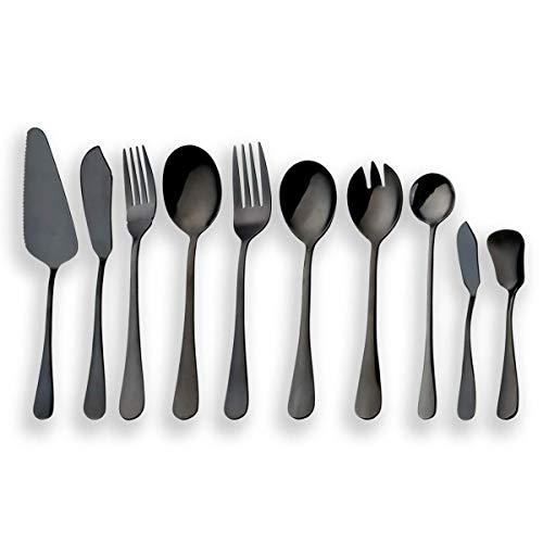 Berglander Juego de cubiertos de servir negro de acero inoxidable, juego de cubiertos, servidor de pastel, cuchillo de pescado, tenedor de pescado, cuchara de servicio, tenedor, cuchara de ensalada