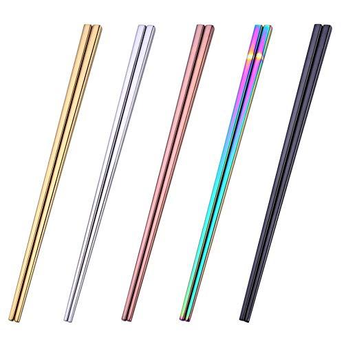 YXHZVON Juego de Palillos de Metal, 5 Pares de Palillos Reutilizables de Acero Inoxidable 304, Palillos Ligeros Multicolores Pulidos para Comidas Tradicionales en la Cocina Casera