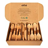 ekhõ The Wood Way! – 300 Cubiertos Desechables Biodegradables de Madera Sostenible – 120 tenedores + 120 cucharas + 60 cuchillos - Cubiertos para Llevar Ecológicos y Compostables