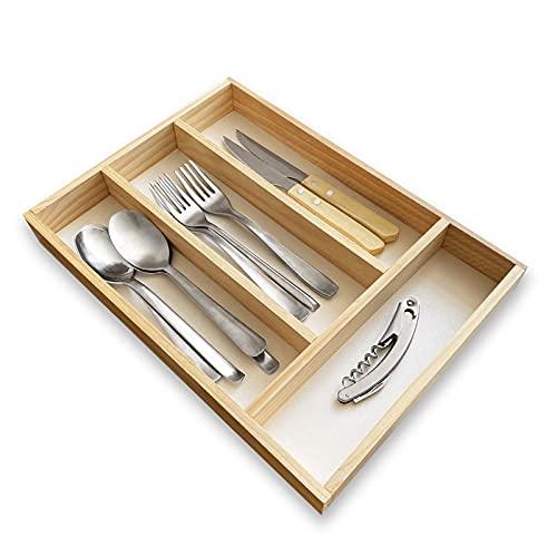 Organizador cubiertos para cajon de madera, cubertero para cajon, bandeja de cubiertos compacta para utensilios de cocina 35x25