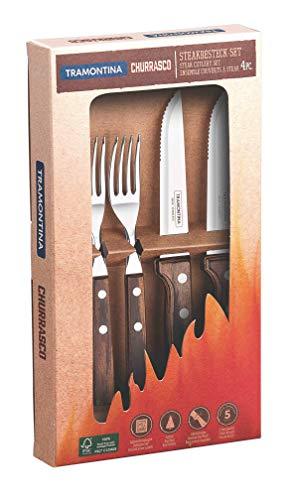Tramontina 29899/312 Gaucho AISI 420 - Juego de cubiertos para carne (4 piezas, acero inoxidable)