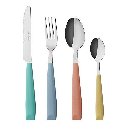 Exzact Cubiertos 24 Piezas Acero Inoxidable con Mangos Anchos de plástico de Color Vibrante - 6 x Tenedores, 6 x Cuchillos, 6 x Cucharas, 6 x Cucharaditas - Color Mixto