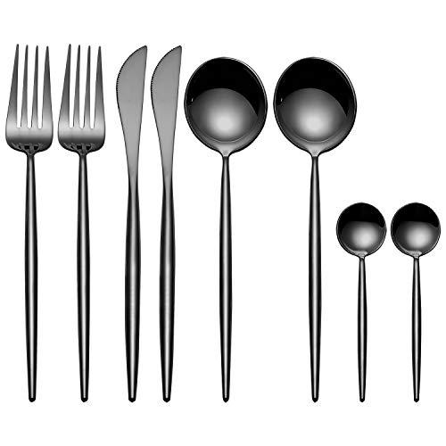 Juegos de cubiertos de 8 piezas MORGIANA, juegos de cubiertos de acero inoxidable 18/10 Juego de vajilla con acabado en espejo, negro, incluyendo cuchillo de cocina, tenedor, cuchara(Negra)